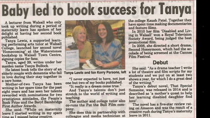 Tanya book signing newspaper clipping